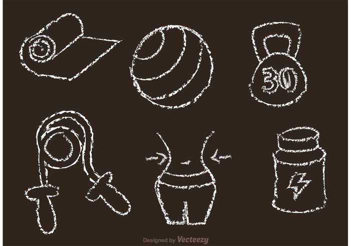 700x490 Chalk Drawn Fitness Vector Icons