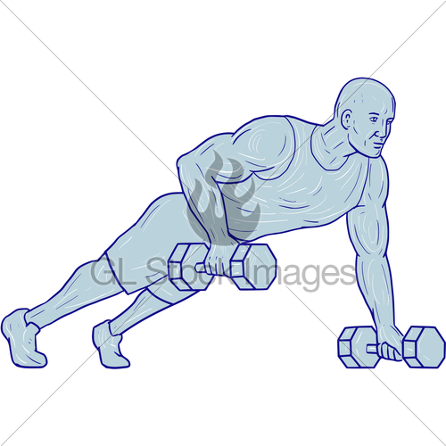 500x500 Fitness Athlete Push Up One Hand Dumbbell Drawing Gl Stock Images