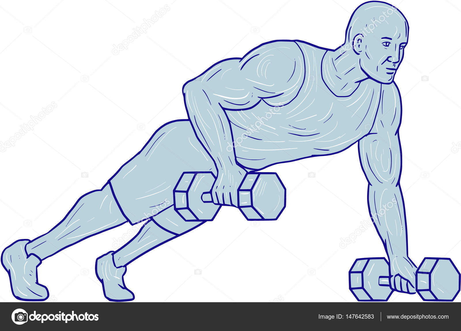 1600x1150 Fitness Athlete Push Up One Hand Dumbbell Drawing Stock Vector