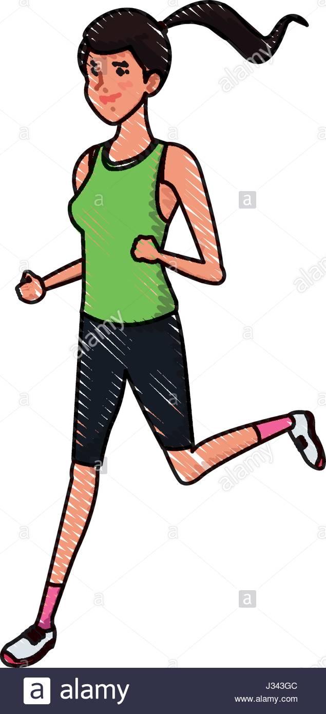 635x1390 Drawing Sport Girl Running Athletic Fitness Image Stock Vector Art
