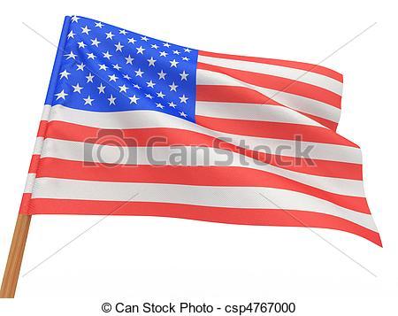 450x357 Flag Fluttering In The Wind. Usa. 3d Stock Illustration