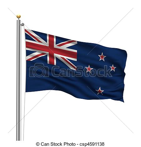 450x470 Flag Of New Zealand With Flag Pole Waving In The Wind Over