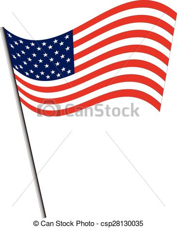 366x470 Isolated Usa Flag Waving On The Wind Vectors