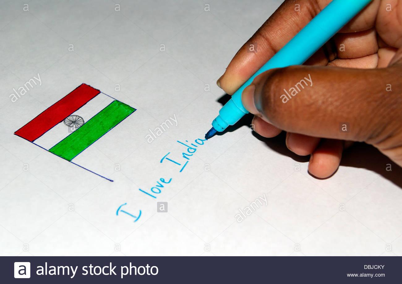 1300x920 Indian Girl Drawing Nation Flag Of India Expressing Patriotism