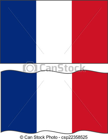 363x470 Flat And Waving French Flag. Vector Illustration Vector