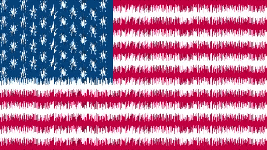852x480 Usa Pencil Drawing Flag. Us Flag Background. Stylized Flag