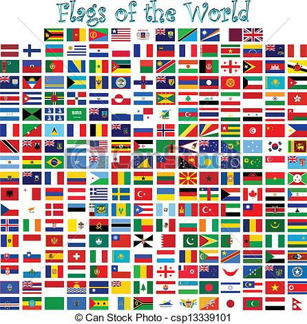 446x470 Flags Of The World Against White Background, Abstract Vector