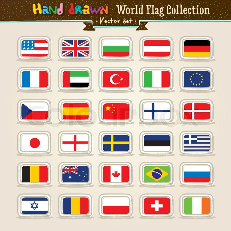 800x800 Vector Hand Draw World Flags Icon Set Stock Vector Colourbox