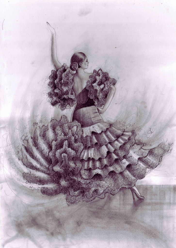 726x1024 Flamenco Dancer Pencil Drawing I Was Commissioned