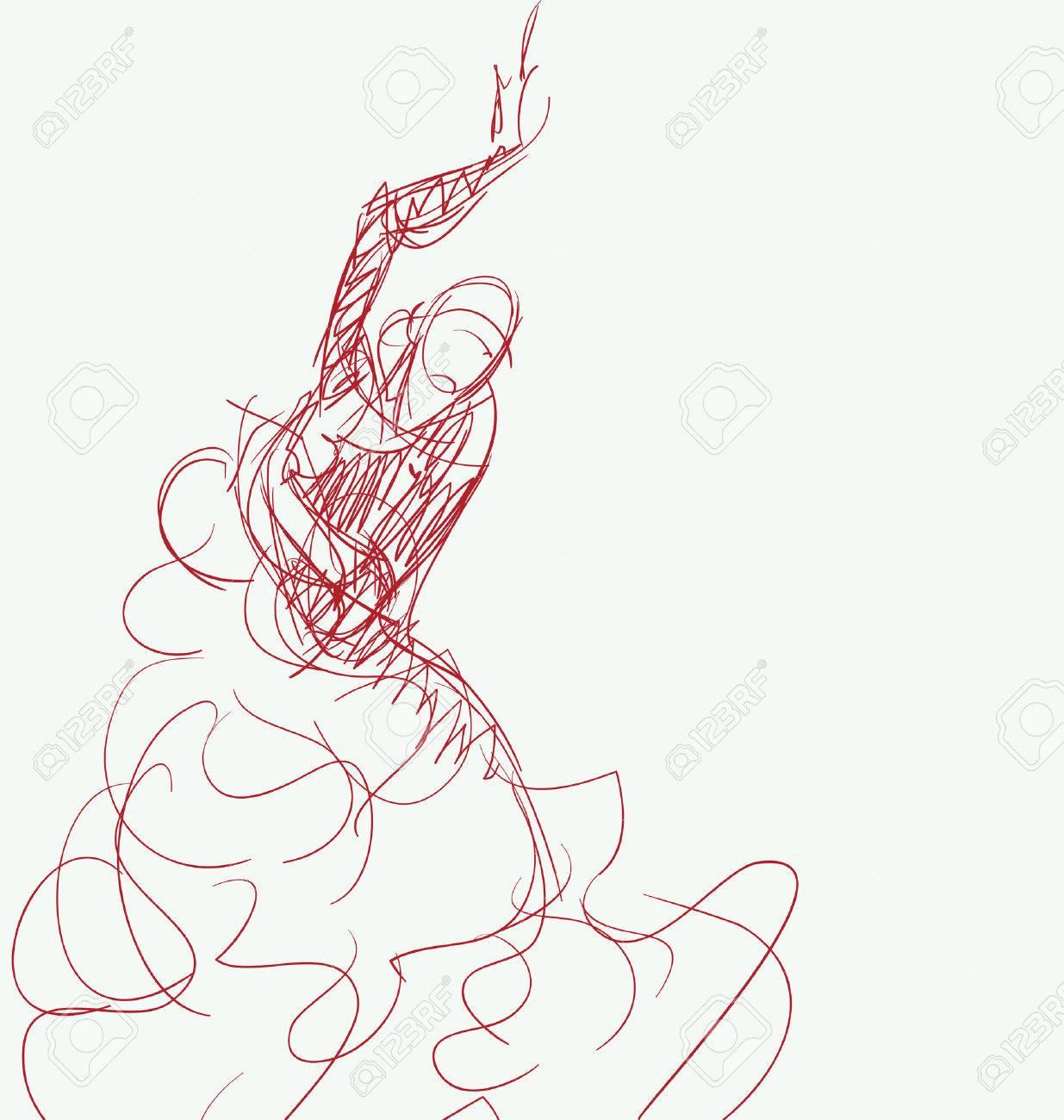 1235x1300 Stilized In Sketch Silhouette Of Spanish Flamenco Dancer Royalty