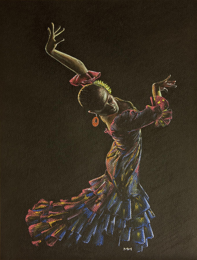 681x900 Flamenco Dancer In Flowered Dress Drawing By Martin Howard