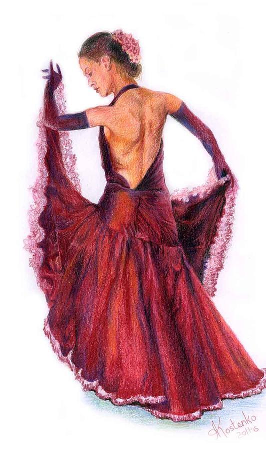 533x900 Flamenco Drawing By Alex Kostenko