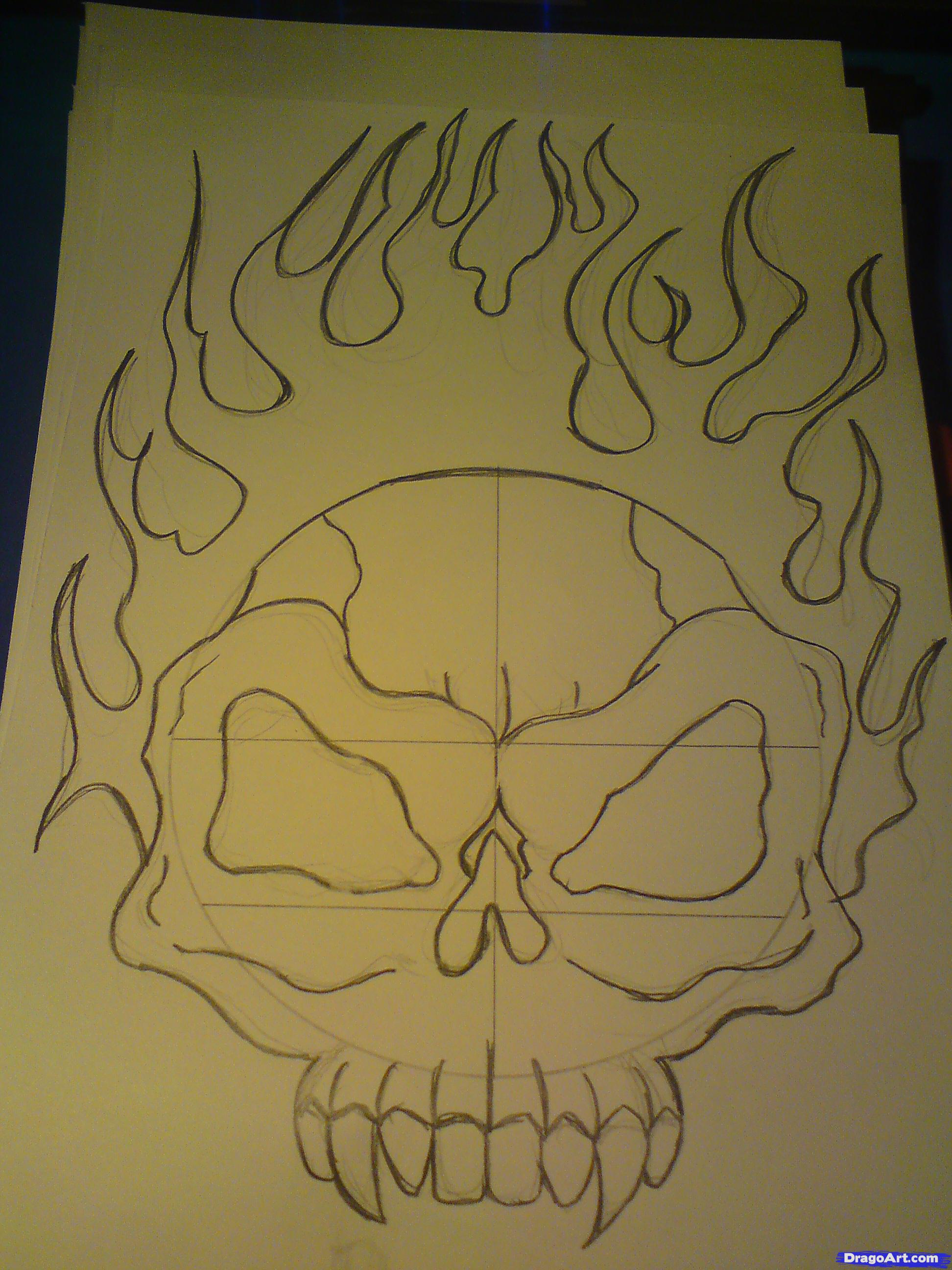 1944x2592 Flaming Skull Drawings Drawn Flame Sculls