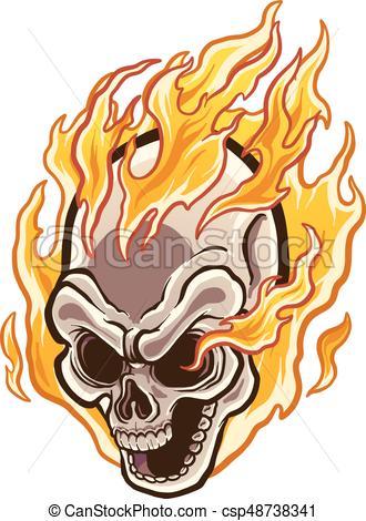 330x470 Flaming Skull.eps. Flaming Cartoon Skull. Vector Clip Art Eps