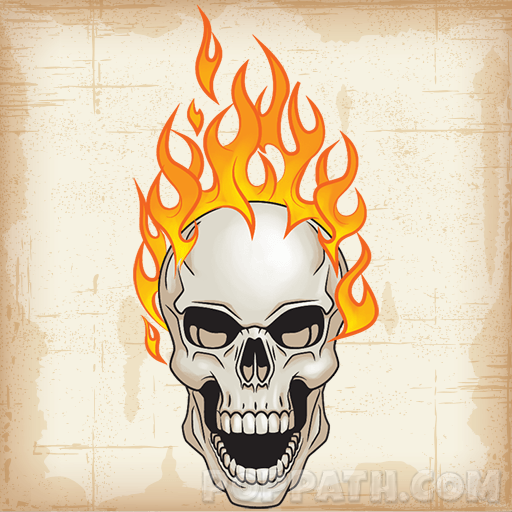 512x512 How To Draw A Flaming Skull Pop Path