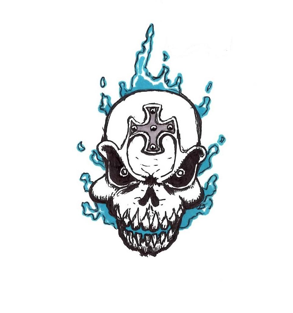 960x1024 Blue Flame Skull Tattoo By Jmbownz
