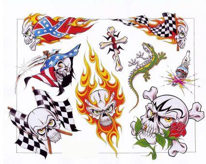 425x337 Colored Flaming Skull And Lizard Tattoo Tattoo From Itattooz