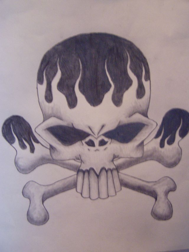 640x853 Flame Skull By Slayer720