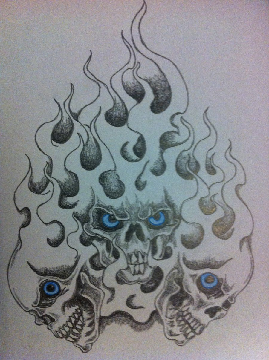 900x1205 Flame Skulls By Inkmanik