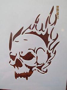 225x300 Flaming Skull Cracked Skull Stencil Pack Reusable 10 Mil Mylar