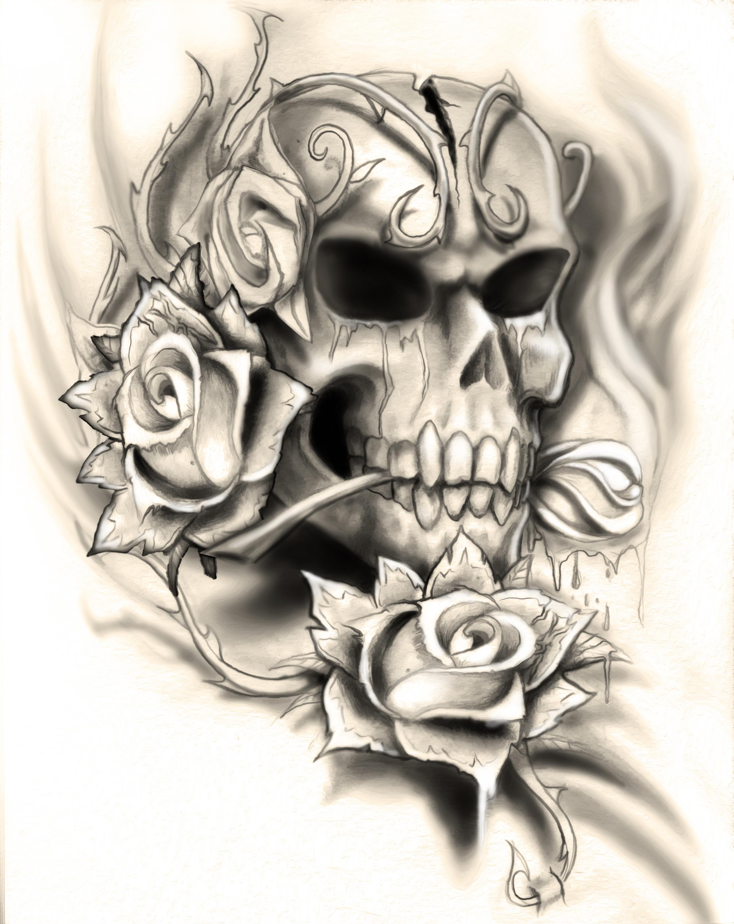 2550x3209 Flaming Skull Tattoo Design Idea