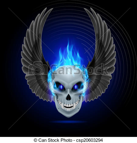 450x470 Flaming Mutant Skull. Mutant Skull With Blue Flame And Eps