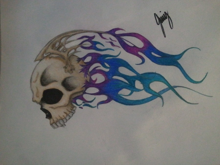 900x675 Skull With Blue Flames By Thebleedingnameless