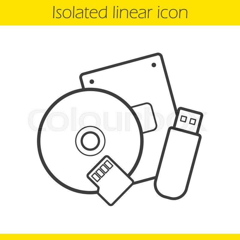 800x800 Data Storage Devices Linear Icon. Thin Line Illustration. Usb