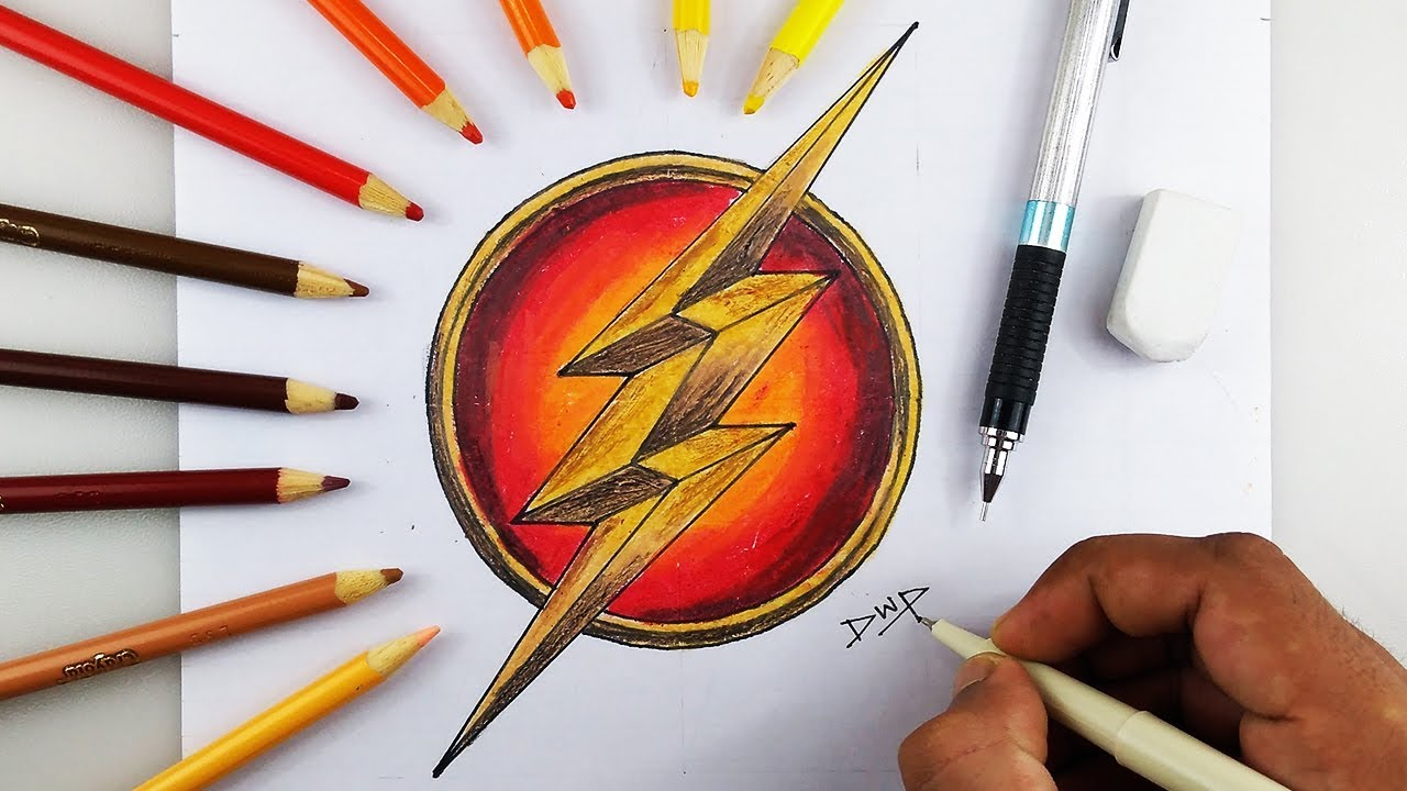 1280x720 How To Draw The Flash Logo Symbol Step By Step Easy For Kids