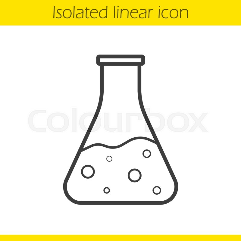 800x800 Chemical Reaction Linear Icon. Thin Line Illustration. Medical Lab