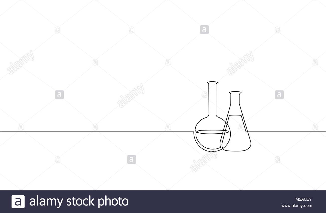 1300x848 Single Continuous Line Art Chemical Science Flask. Scientific