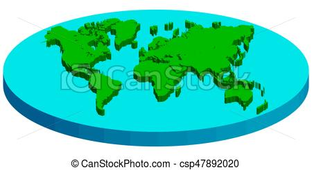 450x245 Map Of Flat Earth, Vector Concept Flat Earth. Map Of Flat 3d