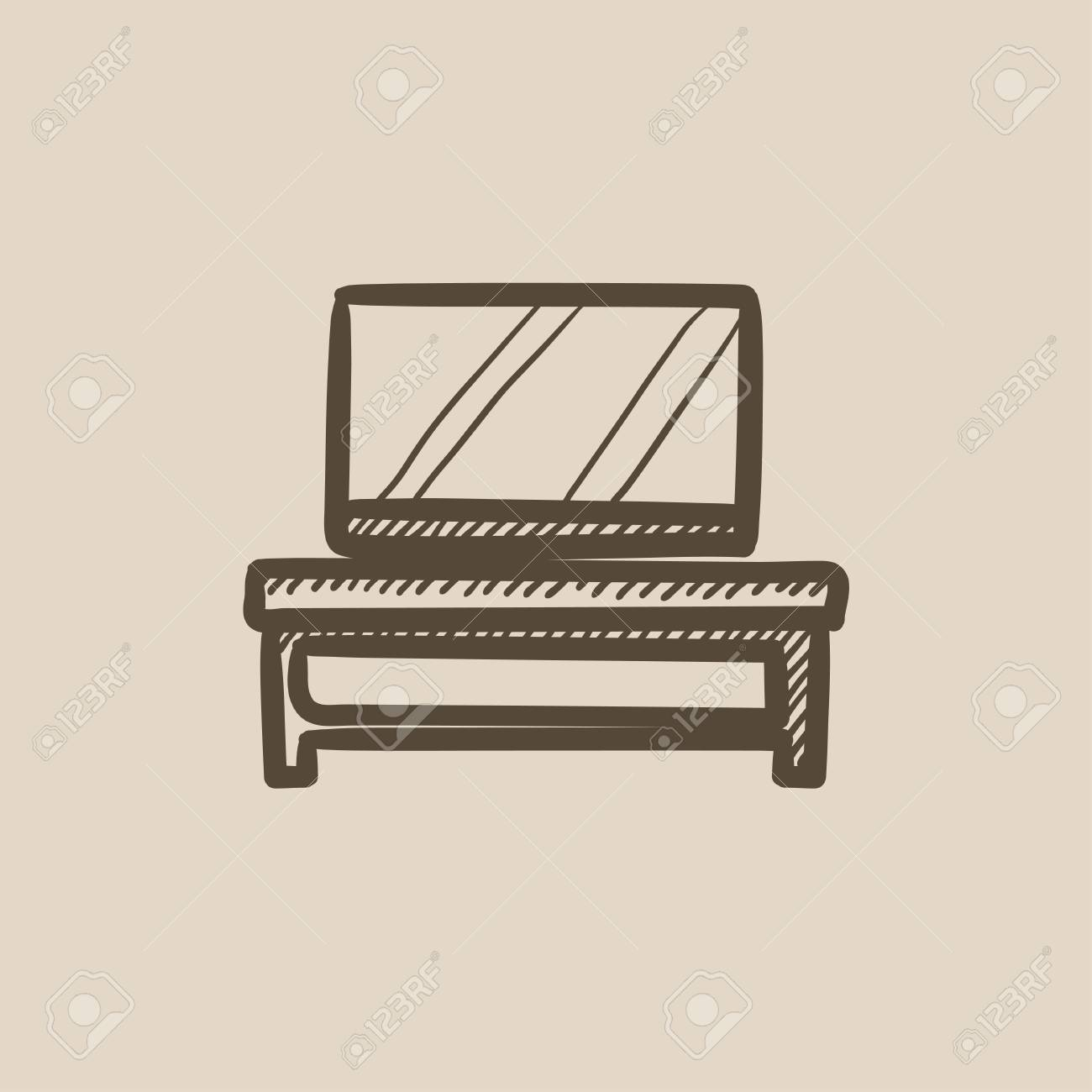 1300x1300 Flat Screen Tv On Modern Tv Stand Vector Sketch Icon Isolated