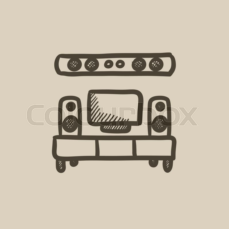 800x800 Tv Flat Screen And Home Theater Vector Sketch Icon Isolated