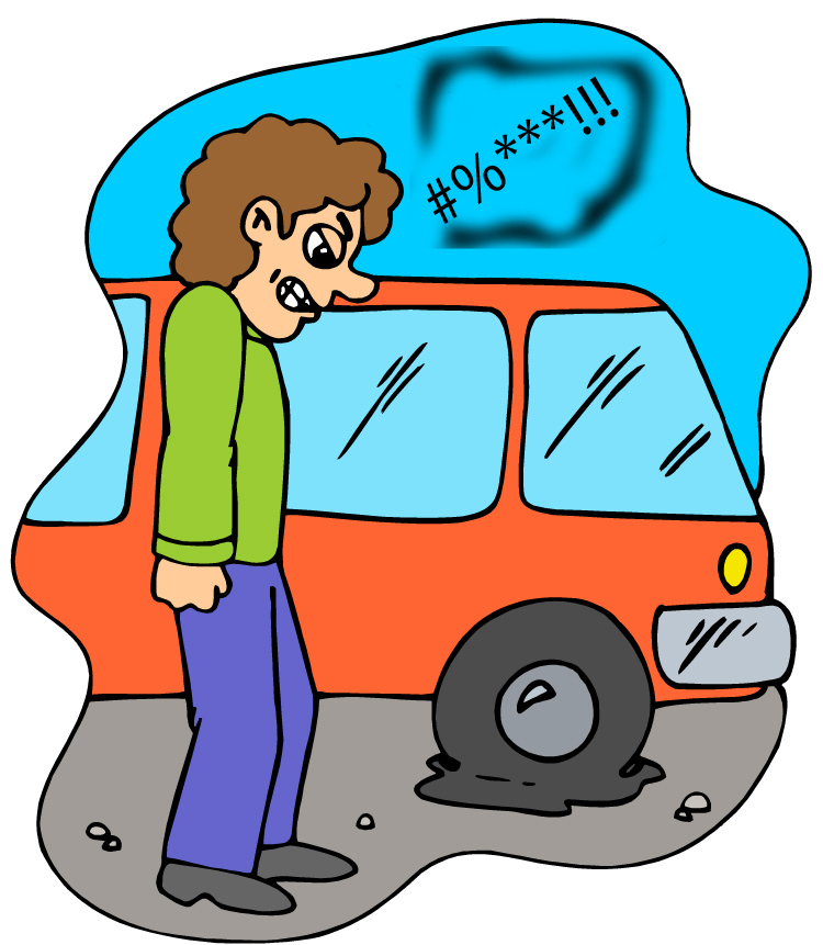750x861 Car With Flat Tire Clipart