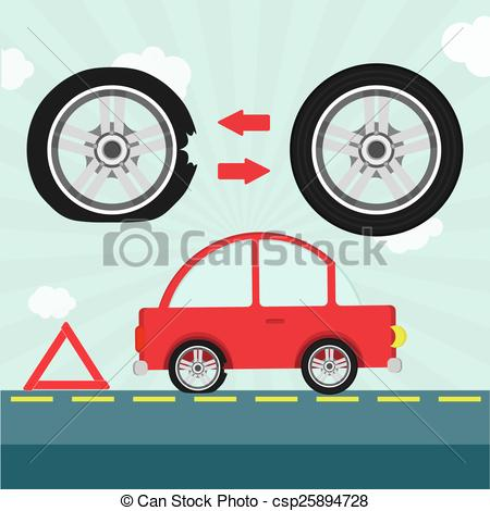 450x470 Car With Flat Tire On The Road And Warning Triangle. Detail