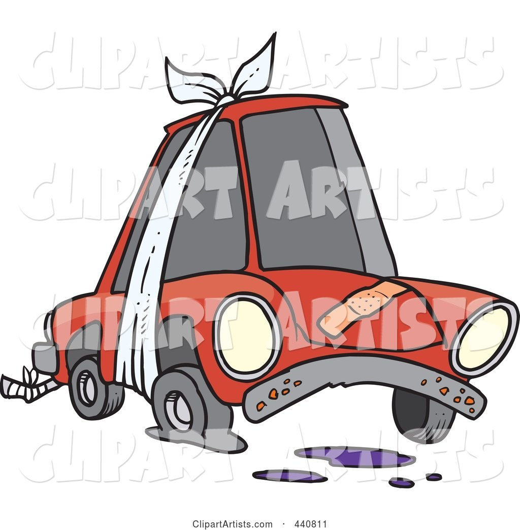 1024x1044 Cartoon Beater Car With Bandages And Flat Tire Clipart By Ron