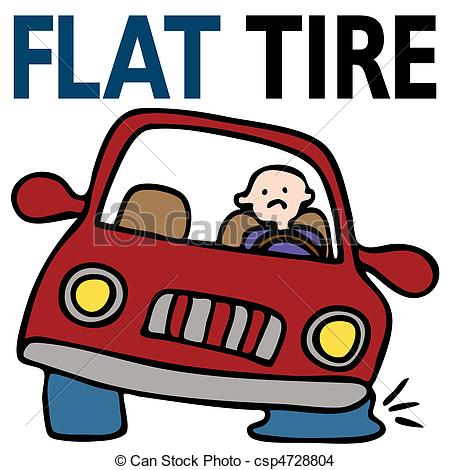 450x470 Flat Tire Eps Vector