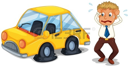 450x233 Illustration Of A Man Beside His Yellow Car With A Flat Tire