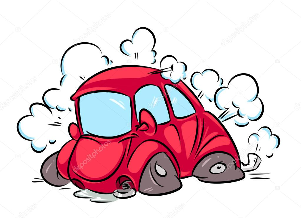 1023x741 Red Car Accident Flat Tire Cartoon Stock Photo Efengai