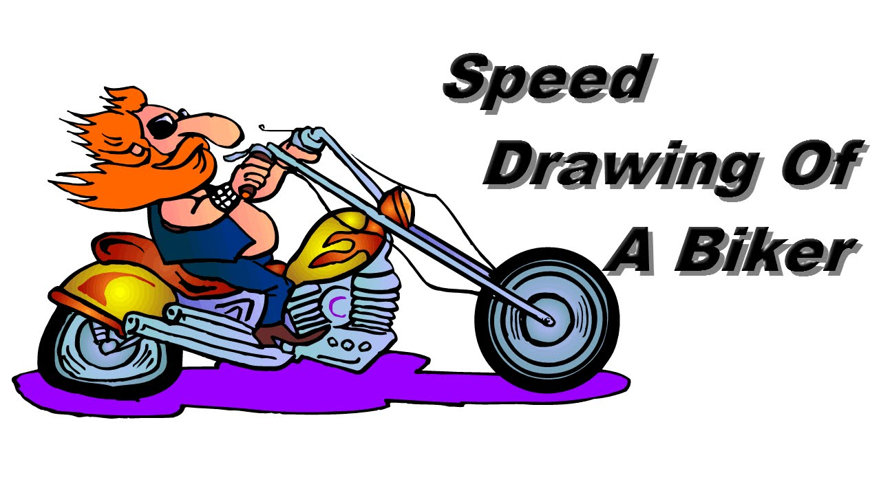 1280x720 Speed Drawing Of A Biker With A Flat Tire.