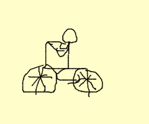 300x250 Stick Man Riding Bike W Flat Tire