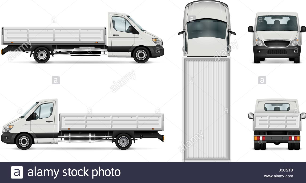 1300x779 Flatbed Truck Vector Illustration. Isolated White Lorry. All