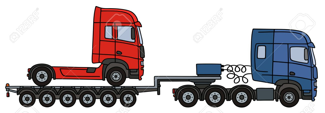 1300x454 Hand Drawing Of A Blue Towing Truck With Red Truck On