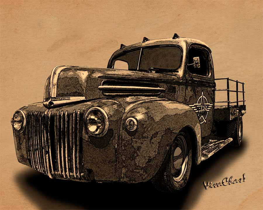 900x720 Rat Rod Flatbed 46 Ford Cross Hatch Drawing Print From Vivachas