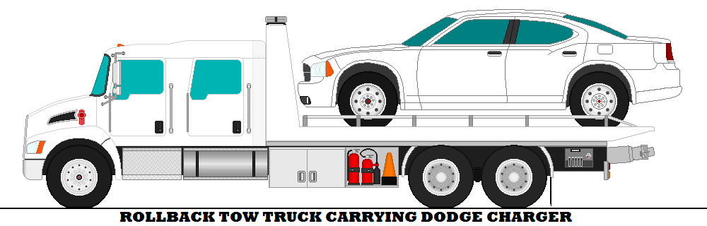 1000x320 Rollback Tow Truck Carrying Dodge Charger By Mcspyder1