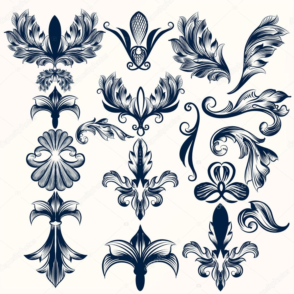 1024x1024 Collection Of Vector Hand Drawn Fleur De Lis And Swirls In Vinta