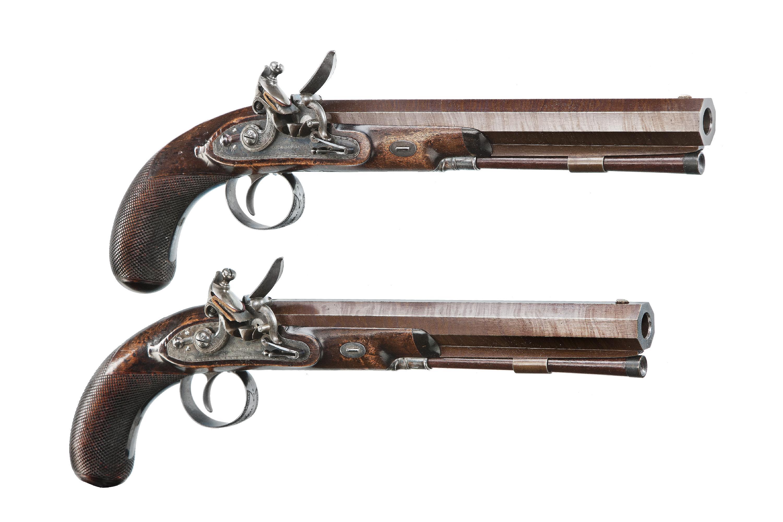 3000x2000 A Cased Pair Of English Flintlock Duelling Pistols By John Manton