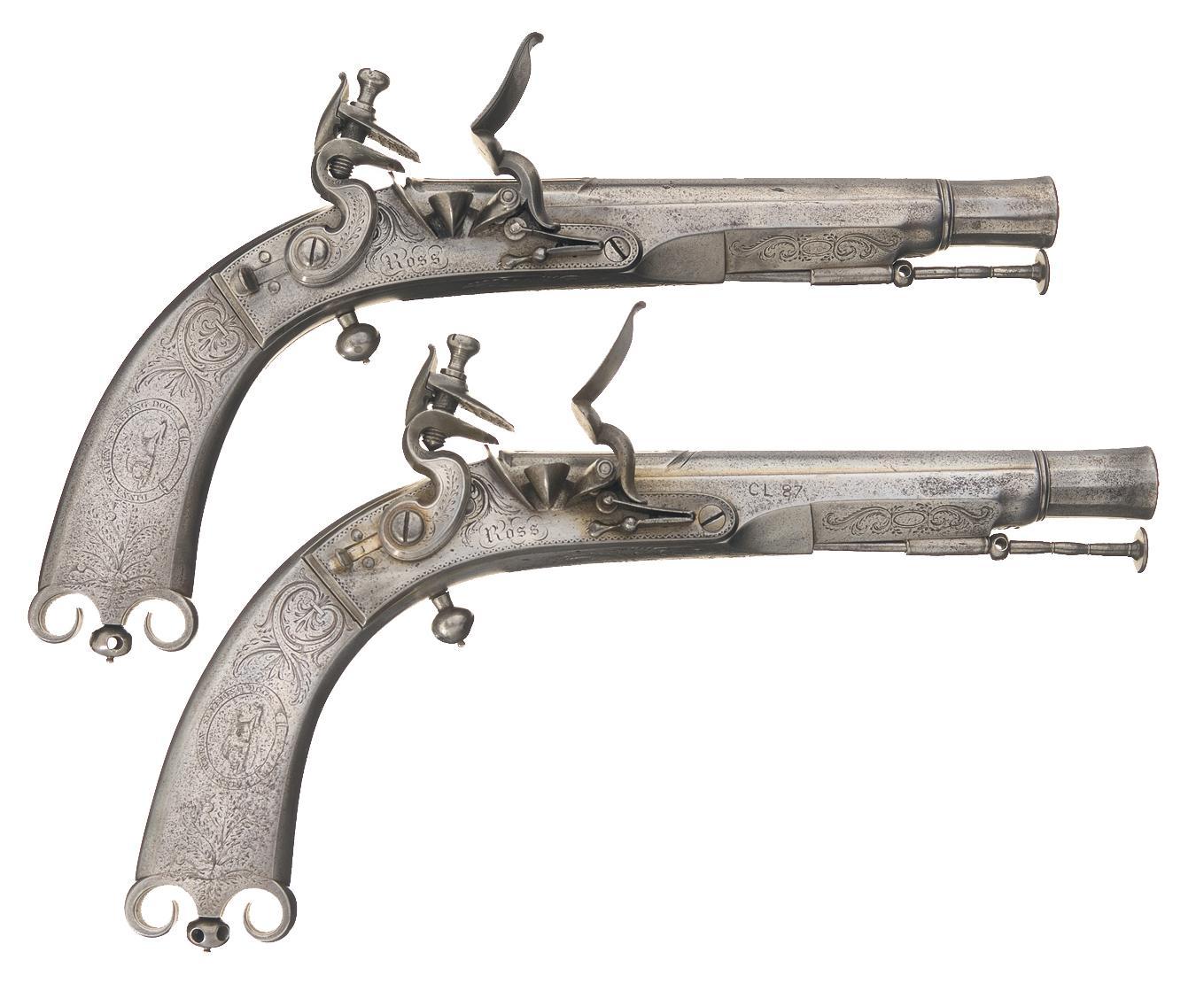 1359x1110 Pair Of Fine Ross Scottish Metal Flintlock Pistols A) Ross