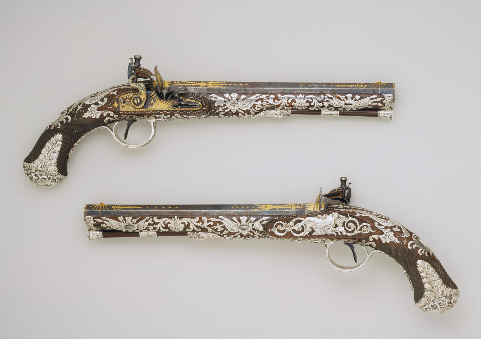 2000x1410 Pair Of Flintlock Pistols Samuel Brunn, Attributed To Michael
